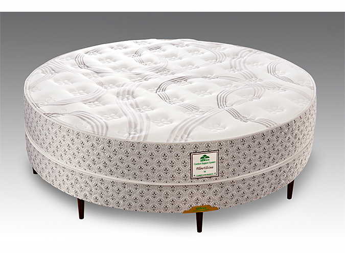 Round mattress and box spring with legs